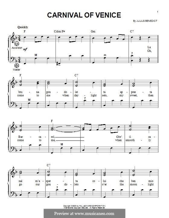 Carnival of Venice: Для аккордеона by Джулиус Бенедикт