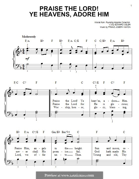 Praise the Lord! Ye Heavens, Adore him: Для фортепиано by Йозеф Гайдн