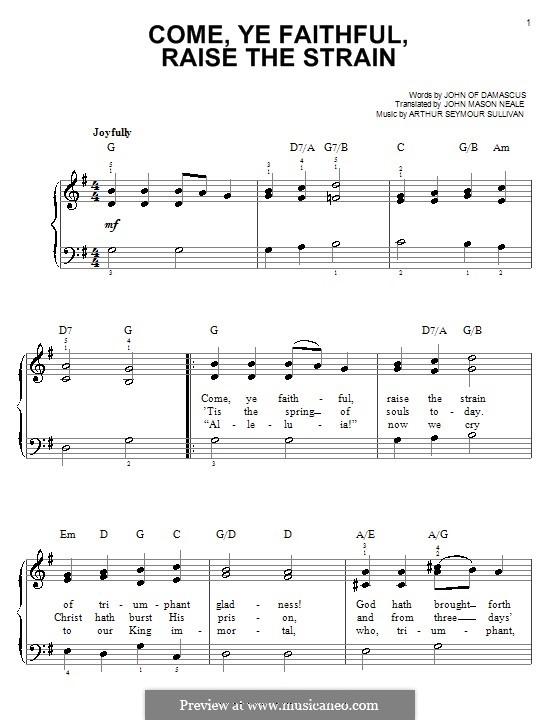 Come, Ye Faithful, Raise the Strain: Для фортепиано by Артур Салливан