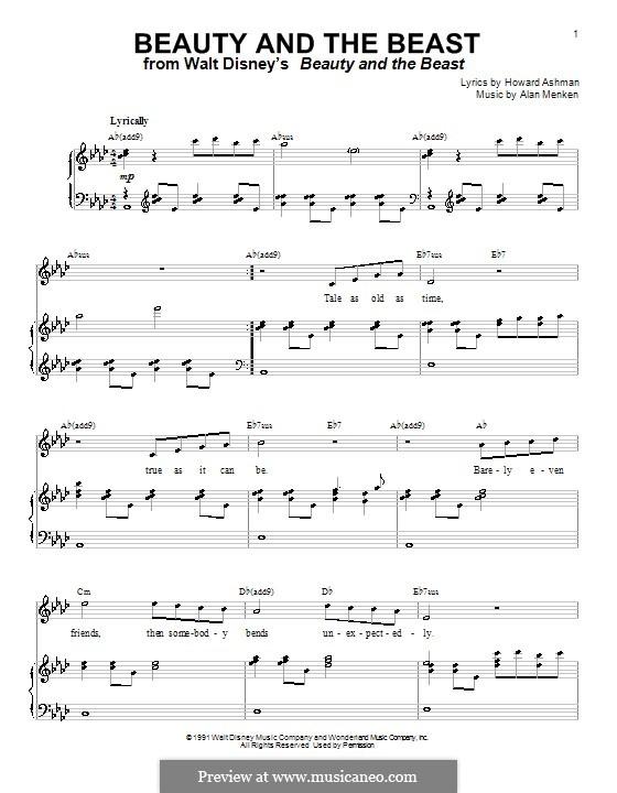 Beauty and the Beast (Celine Dion and Peabo Bryson): Для голоса и фортепиано или гитары (ля-бемоль мажор) by Alan Menken