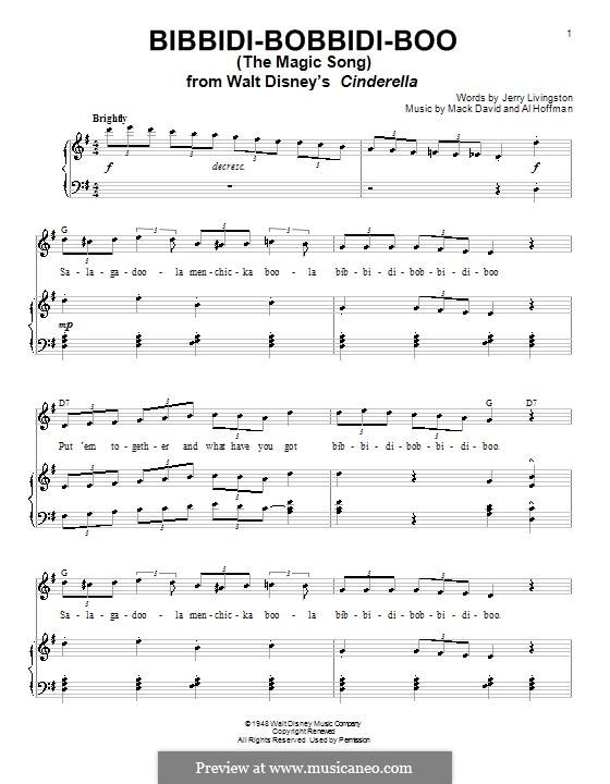 Bibbidi-Bobbidi-Boo (The Magic Song): Для голоса и фортепиано или гитары (Verna Felton) by Al Hoffman, Mack David