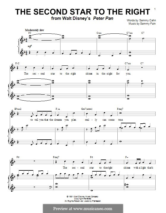 The Second Star to the Right (from Peter Pan): Для голоса и фортепиано (или гитары) by Sammy Fain