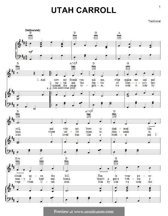 Utah Carroll: Для голоса и фортепиано (или гитары) by folklore