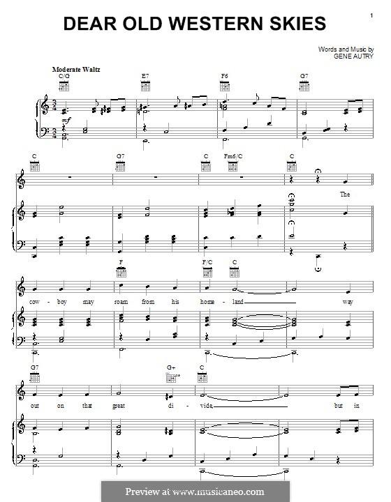 Dear Old Western Skies: Для голоса и фортепиано (или гитары) by Gene Autry