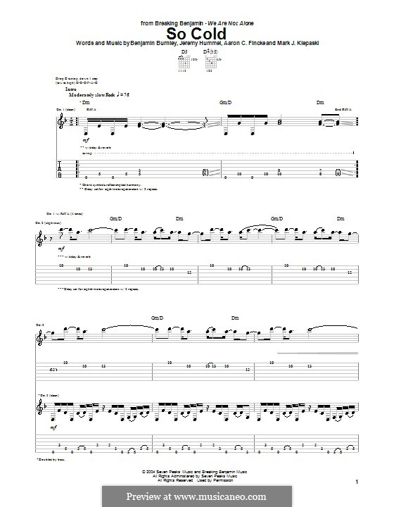 So Cold (Breaking Benjamin): Гитарная табулатура by Aaron C. Fincke, Benjamin Burnley, Jeremy Hummel, Mark J. Klepaski
