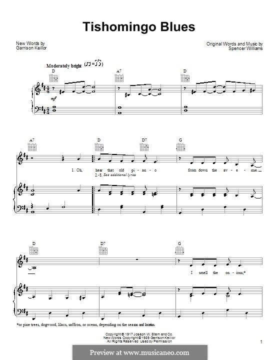 Tishomingo Blues: Для голоса и фортепиано (или гитары) by Spencer Williams