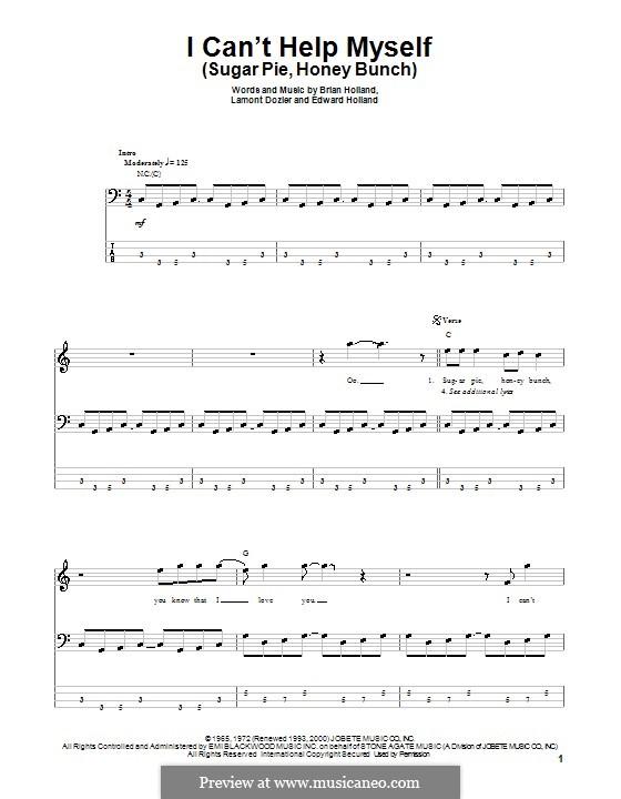 I Can't Help Myself (Sugar Pie, Honey Bunch): Для бас-гитары с табулатурой by Brian Holland, Edward Holland Jr., Lamont Dozier