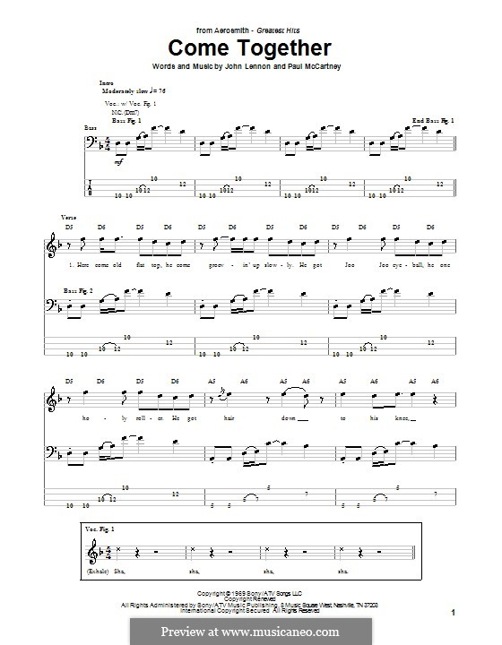 Come Together (The Beatles): Для бас-гитары с табулатурой by John Lennon, Paul McCartney