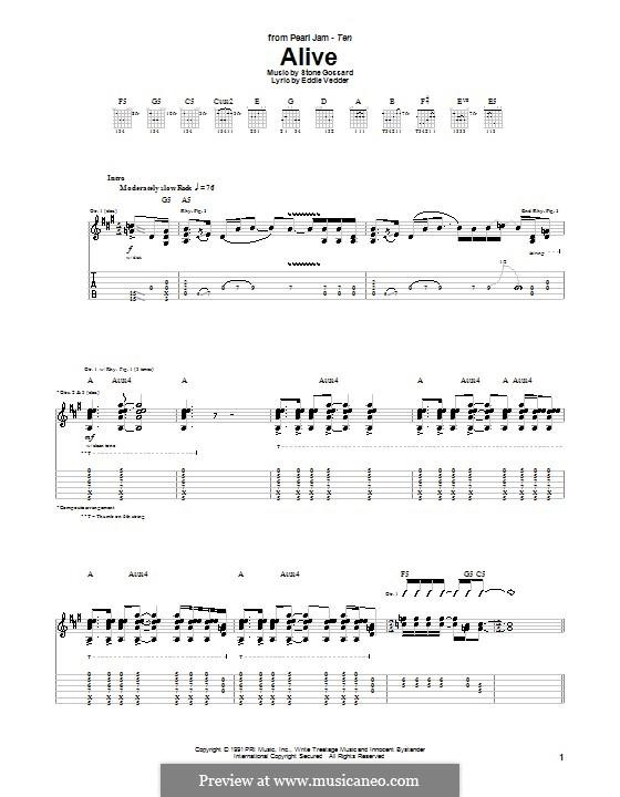 Alive (Pearl Jam): Гитарная табулатура by Stone Gossard