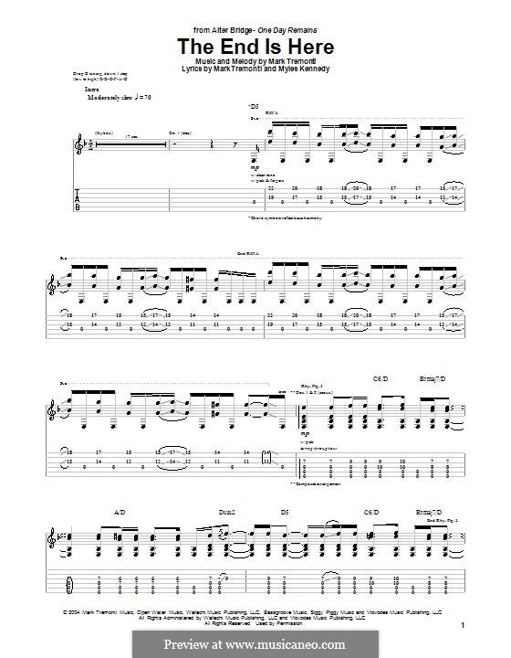 The End Is Here (Alter Bridge): Гитарная табулатура by Mark Tremonti, Myles Kennedy