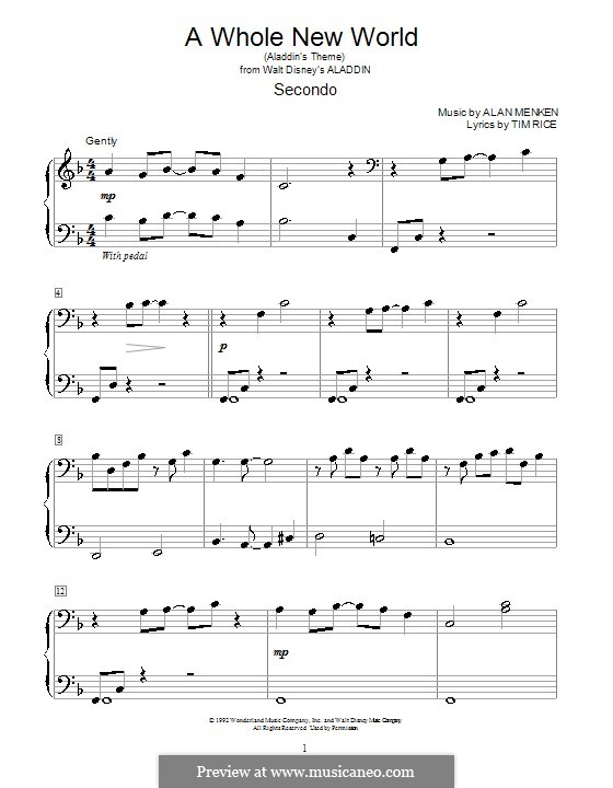 A Whole New World, for Piano (from Aladdin): For four hands by Alan Menken