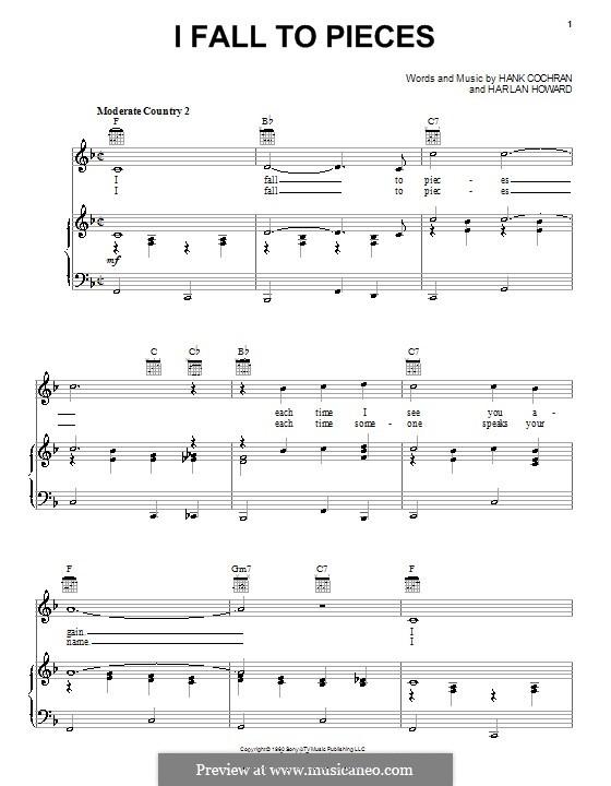 I Fall to Pieces (Patsy Cline): Для голоса и фортепиано (или гитары) by Hank Cochran, Harlan Howard