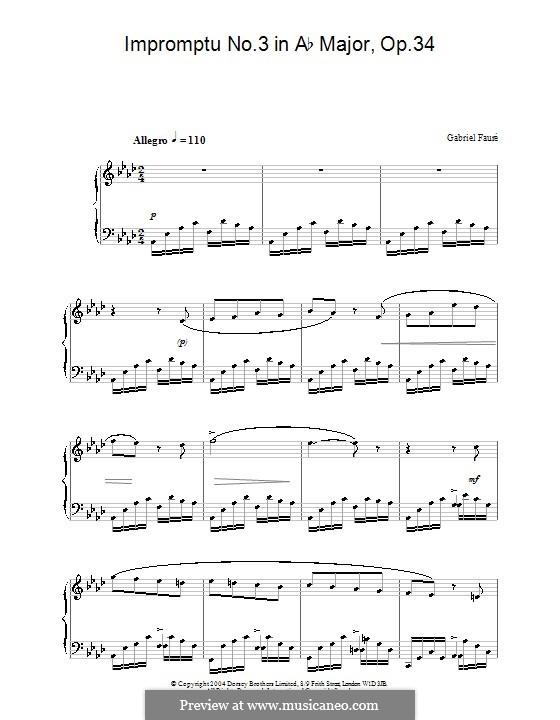 Экспромт для фортепиано No.3 ля-бемоль мажор, Op.34: Высококачественные ноты by Габриэль Форе