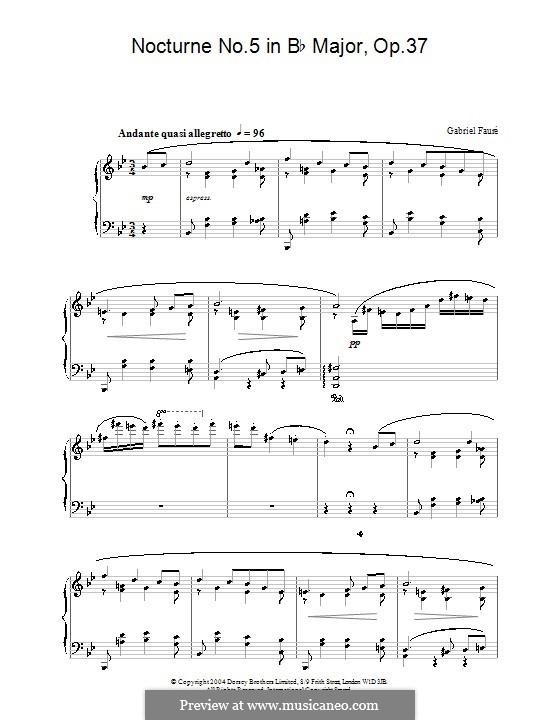 Ноктюрн для фортепиано No.5 си-бемоль мажор, Op.37: Для одного исполнителя by Габриэль Форе
