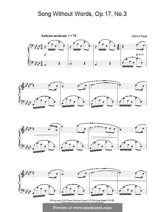 Романсы без слов, Op.17: No.3 ля-бемоль мажор (ноты высокого качества) by Габриэль Форе