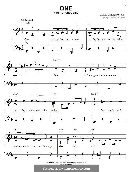 One (from A Chorus Line): Для фортепиано (легкий уровень) (Anita Kerr) by Marvin Hamlisch