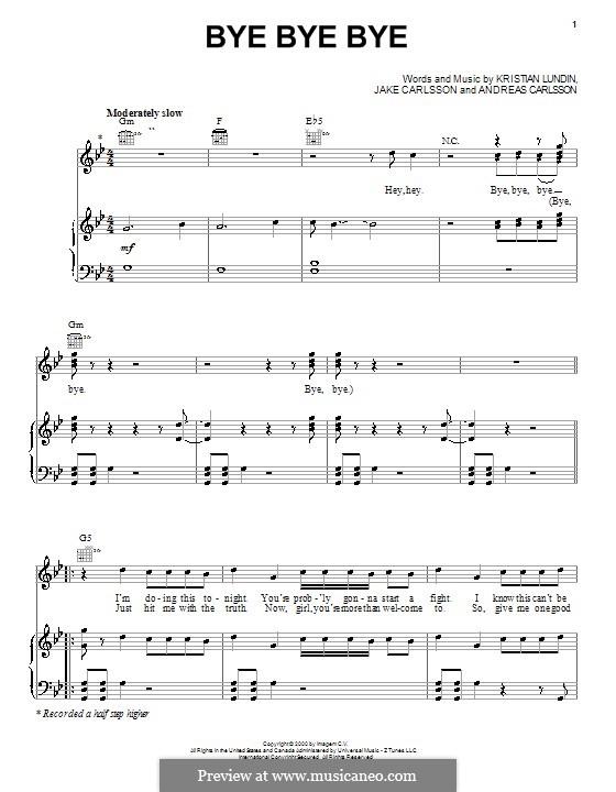 Bye Bye Bye (N Sync): Для голоса и фортепиано (или гитары) by Andreas Carlsson, Jake Carlsson, Kristian Lundin