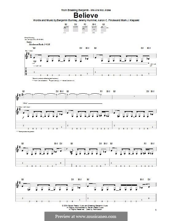 Believe (Breaking Benjamin): Гитарная табулатура by Aaron C. Fincke, Benjamin Burnley, Jeremy Hummel, Mark J. Klepaski