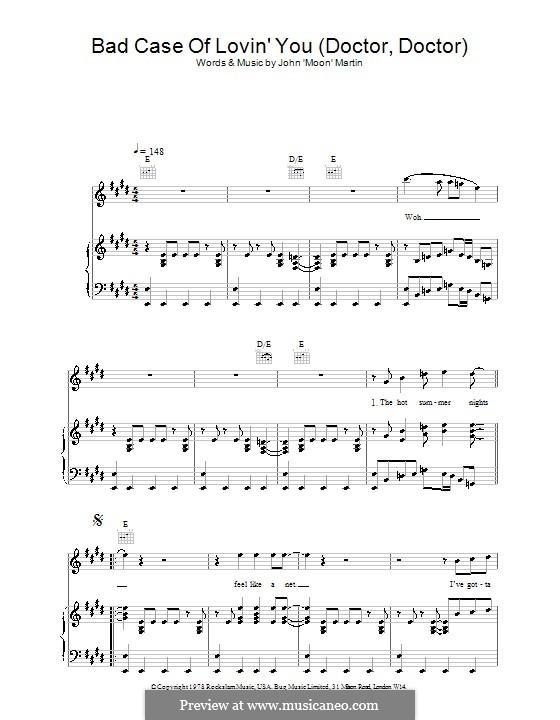 Bad Case of Loving You (Robert Palmer): Для голоса и фортепиано или гитары by Moon Martin