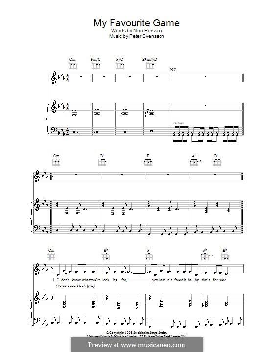 My Favourite Game (The Cardigans): Для голоса и фортепиано (или гитары) by Peter Svensson