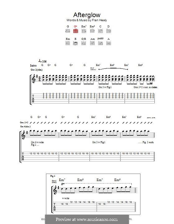 Afterglow (Travis): Гитарная табулатура by Fran Healy