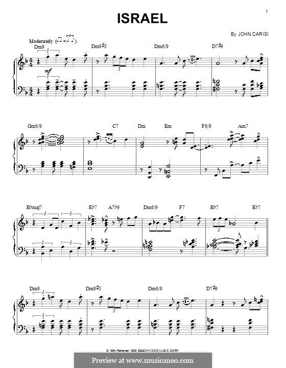 Israel (Miles Davis): Для фортепиано by John Carisi
