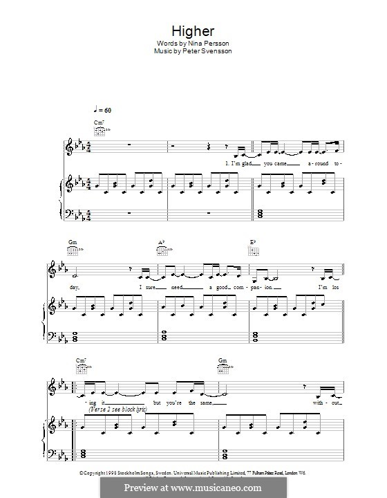 Higher (The Cardigans): Для голоса и фортепиано (или гитары) by Nina Persson, Peter Svensson