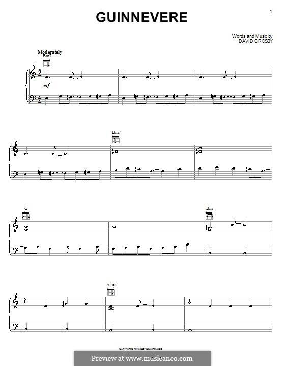 Guinnevere (Crosby, Stills & Nash): Для голоса и фортепиано (или гитары) by David Crosby
