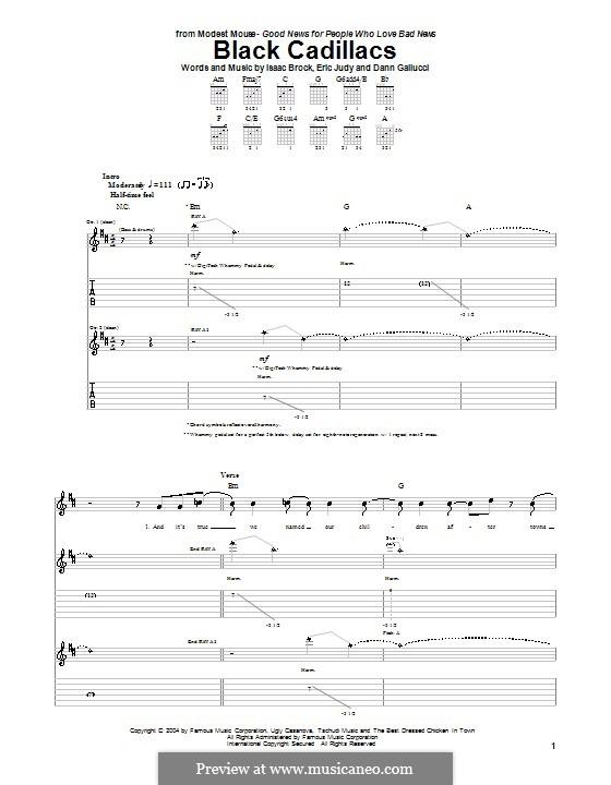 Black Cadillacs (Modest Mouse): Гитарная табулатура by Dann Gallucci, Eric Judy, Isaac Brock