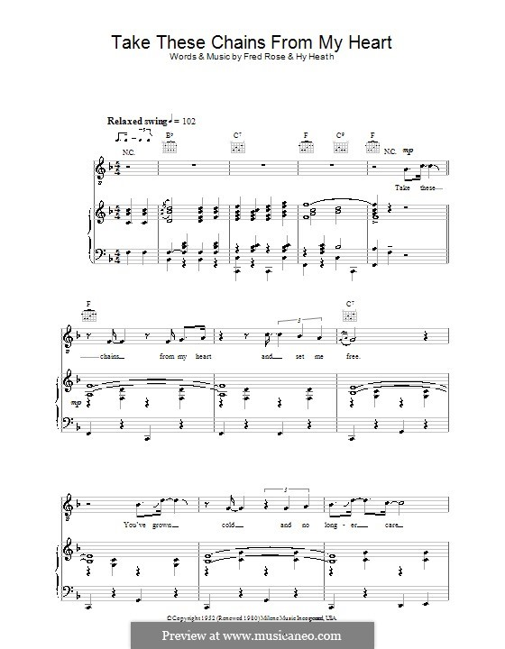 Take These Chains from My Heart: Для голоса и фортепиано (или гитары) by Fred Rose, Hy Heath