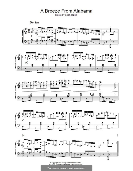 Ветерок из Алабамы: Для фортепиано (ноты высокого качества) by Скотт Джоплин