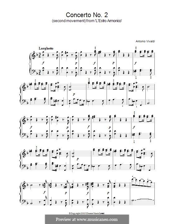 Концерт для двух скрипок, виолончели и струнных No.2 соль минор, RV 578: Часть II. Версия для фортепиано by Антонио Вивальди