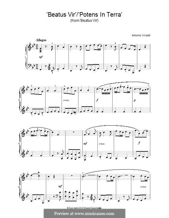 Beatus Vir/Potens in Terra: Для фортепиано by Антонио Вивальди