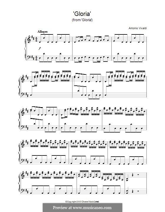 Gloria, RV 589: Movement I 'Gloria', for piano by Антонио Вивальди