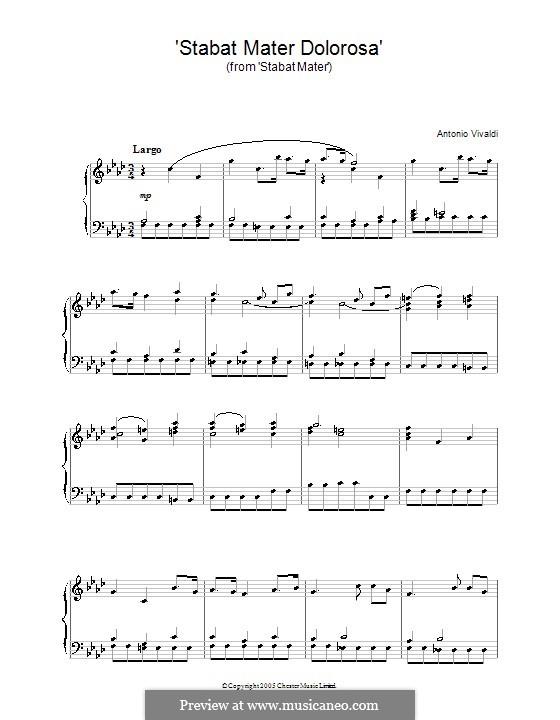 Stabat Mater, RV 621: Stabat Mater Dolorosa, for piano by Антонио Вивальди