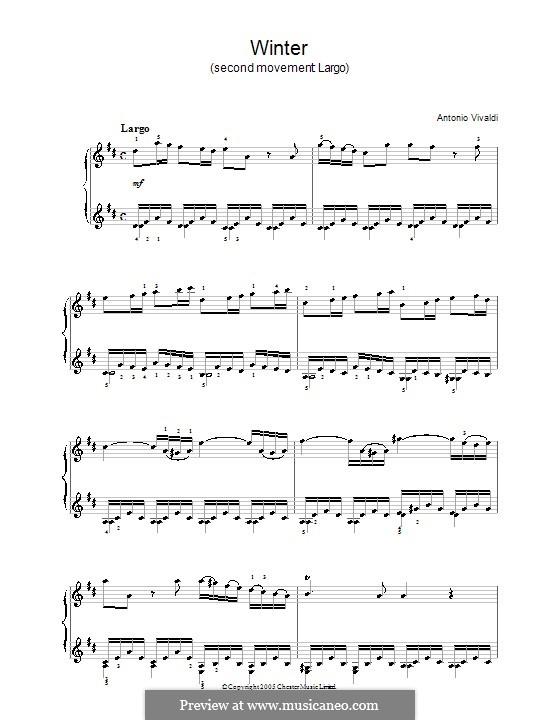 Концерт для скрипки с оркестром No.4 фа минор 'Зима', RV 297: Часть II. Переложение для фортепиано (с аппликатурой) by Антонио Вивальди