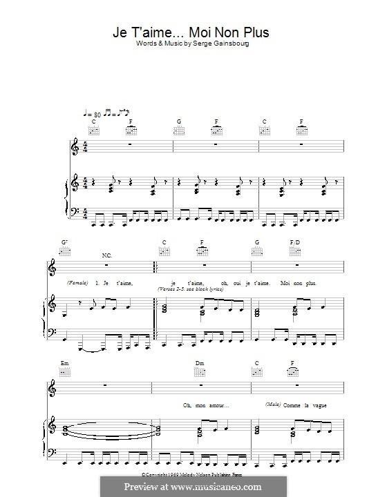 Je T'aime... Moi Non Plus: Для голоса и фортепиано (или гитары) by Serge Gainsbourg