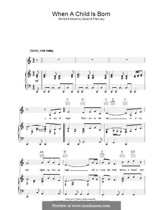 When a Child Is Born: Для голоса и фортепиано (или гитары) by Zacar, Fred Jay