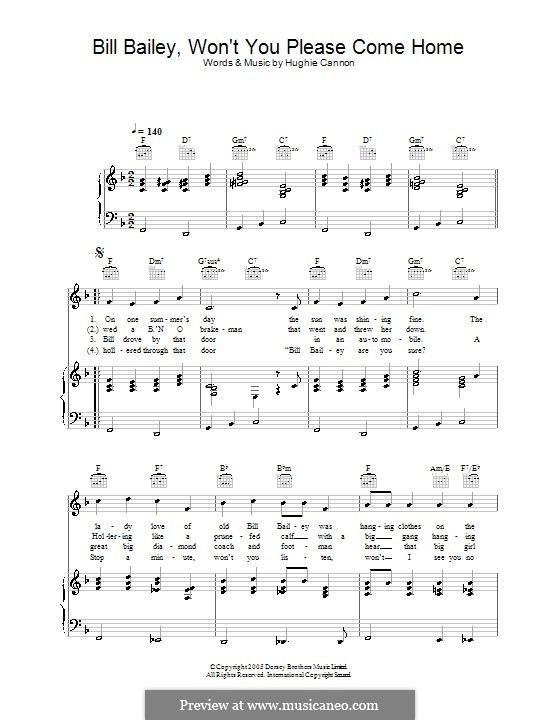 Bill Bailey, Won't You Please Come Home: Для голоса и фортепиано (или гитары) by Hughie Cannon