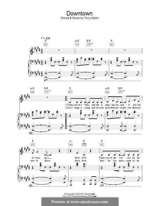 Downtown (Petula Clark): Для голоса и фортепиано (или гитары) by Tony Hatch