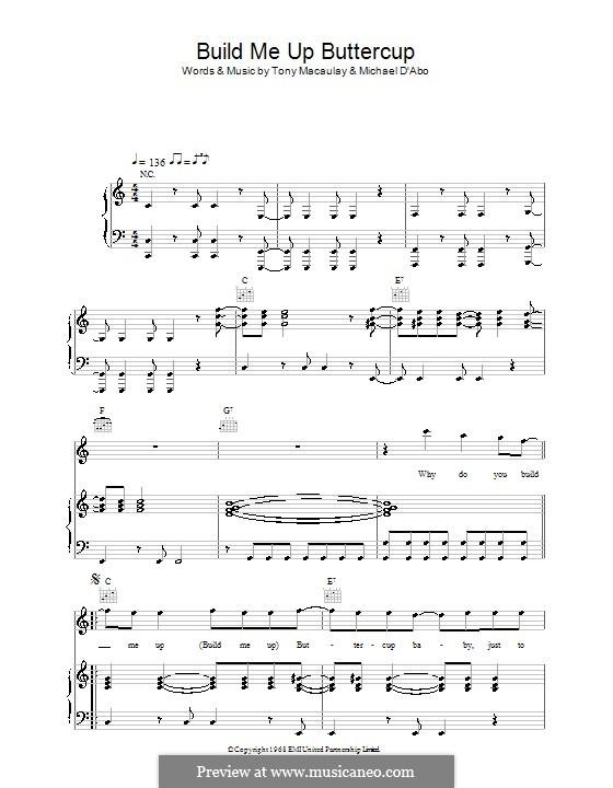 Build Me Up Buttercup (The Foundations): Для голоса и фортепиано (или гитары) by Michael D'Abo, Tony Macaulay