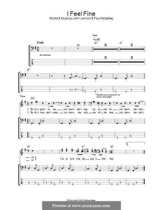 I Feel Fine (The Beatles): Для бас-гитары с табулатурой by John Lennon, Paul McCartney