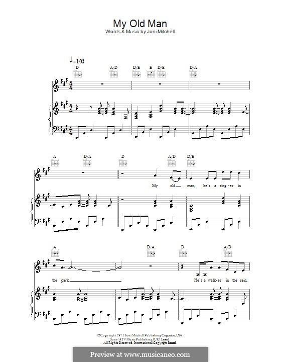 My Old Man: Для голоса и фортепиано (или гитары) by Joni Mitchell