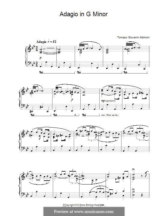 Адажио соль минор: Версия для фортепиано by Томазо Альбинони