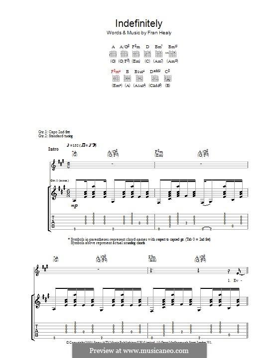 Indefinitely (Travis): Гитарная табулатура by Fran Healy