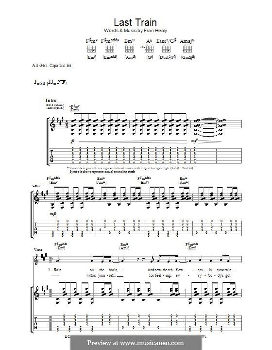 Last Train (Travis): Гитарная табулатура by Fran Healy