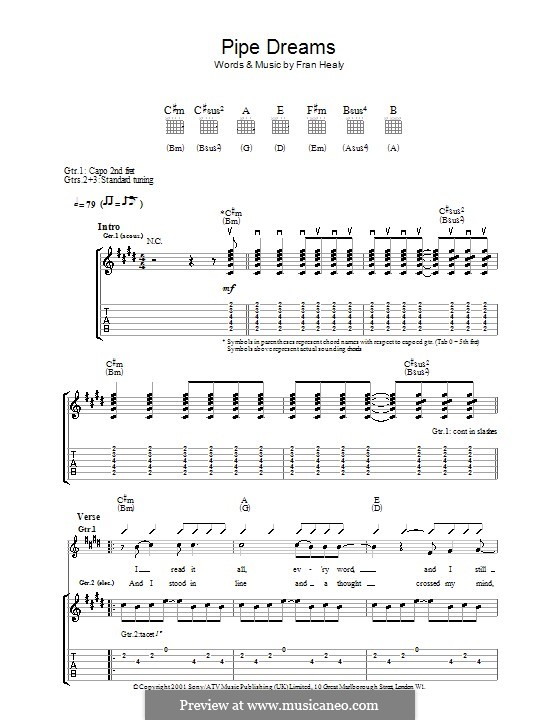 Pipe Dreams (Travis): Гитарная табулатура by Fran Healy
