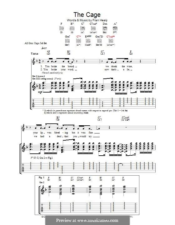 The Cage (Travis): Гитарная табулатура by Fran Healy