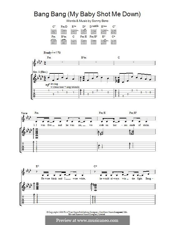 Bang Bang (My Baby Shot Me Down): Гитарная табулатура (Nancy Sinatra) by Sonny Bono
