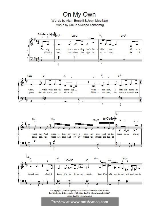 On My Own: Для фортепиано (легкий уровень) by Claude-Michel Schönberg